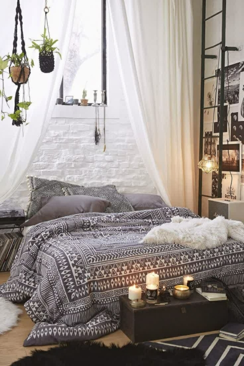Bedroom Antique Bohemian Bedroom With Pink Cozy Canopy Bed Near intended for Bohemian Bedroom Rug
