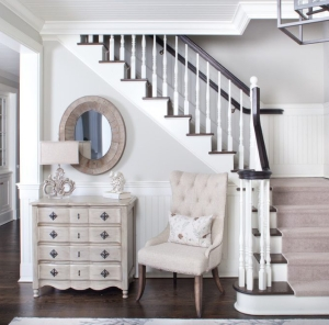 new-york-paint-ideas-for-foyer-with-rustic-wall-mirrors-staircase-beach-style-and-oval-mirror-upholstered-side-chair