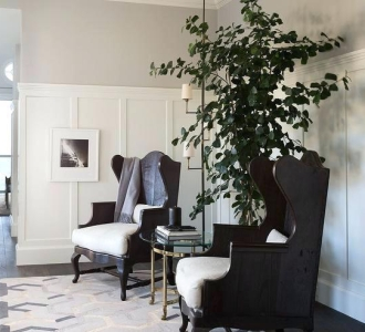 transitional-wingback-chair-foyer-with-black-chairs-and-gold-and-black-floor-lamp-transitional-wing-chair