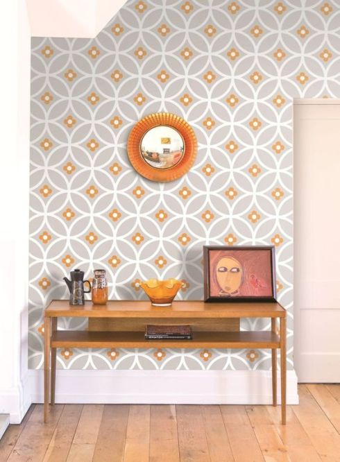 27-orange-and-grey-wallpaper-with-a-geometric-print-for-an-entryway