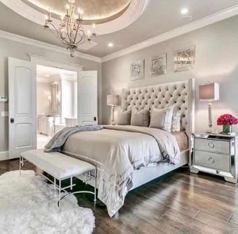 glamorous white gray master bedroom   Relaxing Traditional Master Bedroom – TEG Interiors